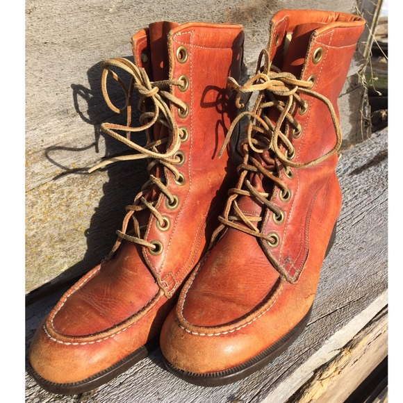 Vintage Other - Vintage Leather Lace-up Moc Toe Boots sz 8
